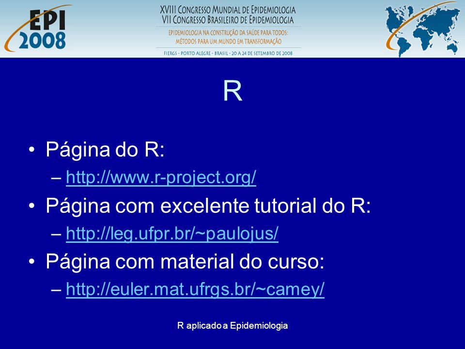 R aplicado a Epidemiologia R: Links para download > CRANCRAN > http://cran.br.r-project.org/http://cran.br.r-project.org/ > WindowsWindows > basebase > R-2.7.2-win32.exeR-2.7.2-win32.exe Para instalação execute o arquivo