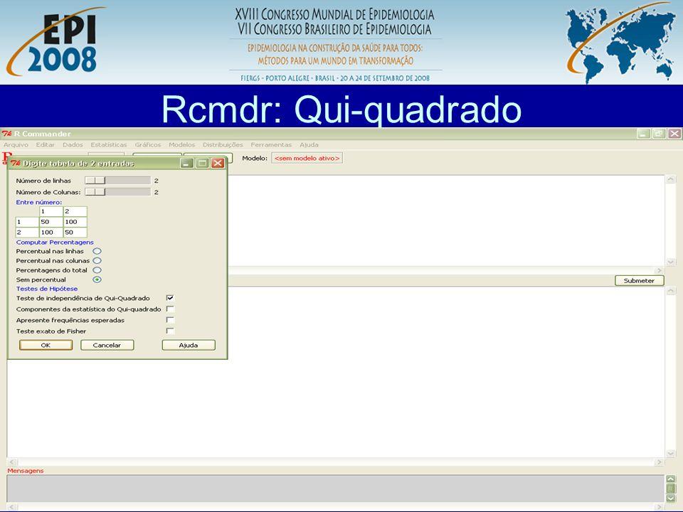R aplicado a Epidemiologia Rcmdr: Qui-quadrado O R representa os números com notação científica.