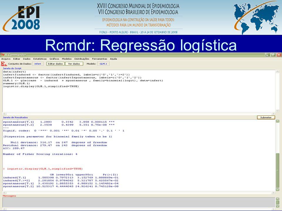 R aplicado a Epidemiologia Rcmdr: Regressão logística Comando para regressão logística condicional (caso-controle pareado).