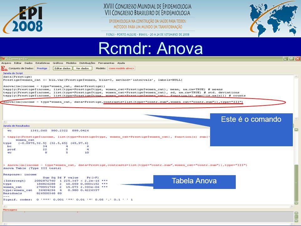 R aplicado a Epidemiologia Rcmdr: Anova Comando para teste de Tukey para comparações múltiplas.