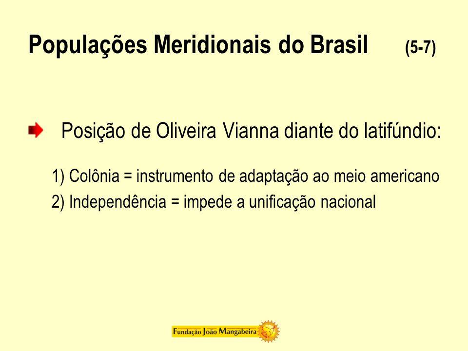 Populações Meridionais do Brasil (6-7) Localismo (caudilhos) X Centro (nação) = Rei (regulador de conflitos) Poder central: Brasil (defensor de liberdade) Europa (inimigo de liberdade) Defesa liberal da descentralização = caudilhismo Conservadores percebiam diferenças entre condições européias e americanas