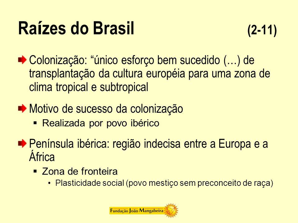 Ra í zes do Brasil (3-11) Brasileiros = desterrados em sua terra Península ibérica Cultura da personalidade Cultura da personalidade O sentimento da própria dignidade de cada homem Cultura da personalidade hierarquia social = ética dos fidalgos Cultura da personalidade solidariedade social