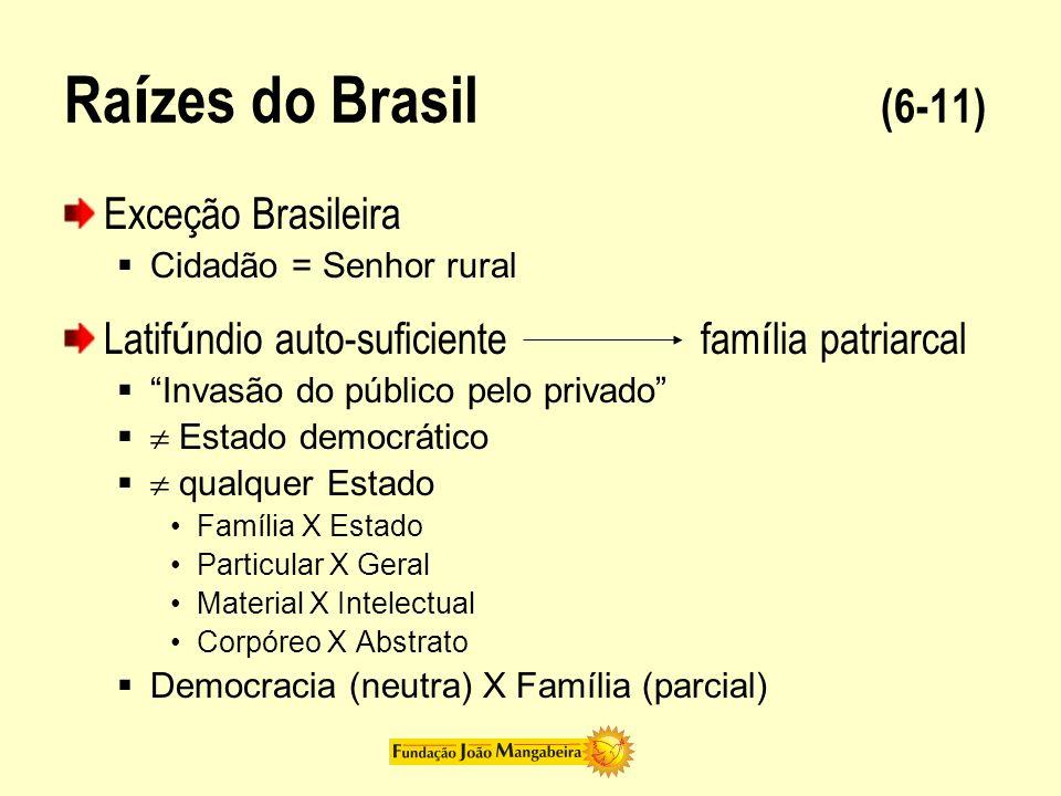 Ra í zes do Brasil (7-11) Brasileiro = Homem cordial Cordialidade = o que vem do coração qualidades positiva Cordial = amor = ódio Resultado: dif í cil para o homem cordial estabelecer democracia
