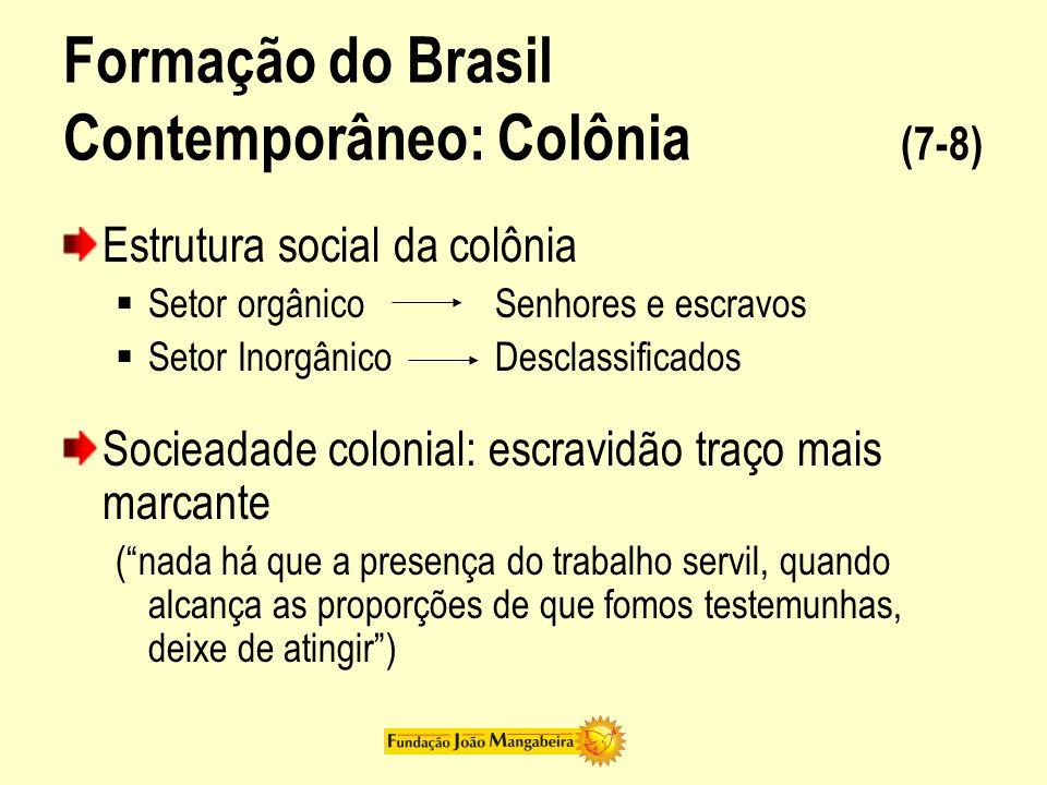 Formação do Brasil Contemporâneo: Colônia (8-8) Peso da escravidão = pouco espaço para política e cultura Política = poder dos senhores locais Cultura: relações puramente materiais Grande exploração Família patriarcal brasileira = Maior legitimidade para dominação de senhores