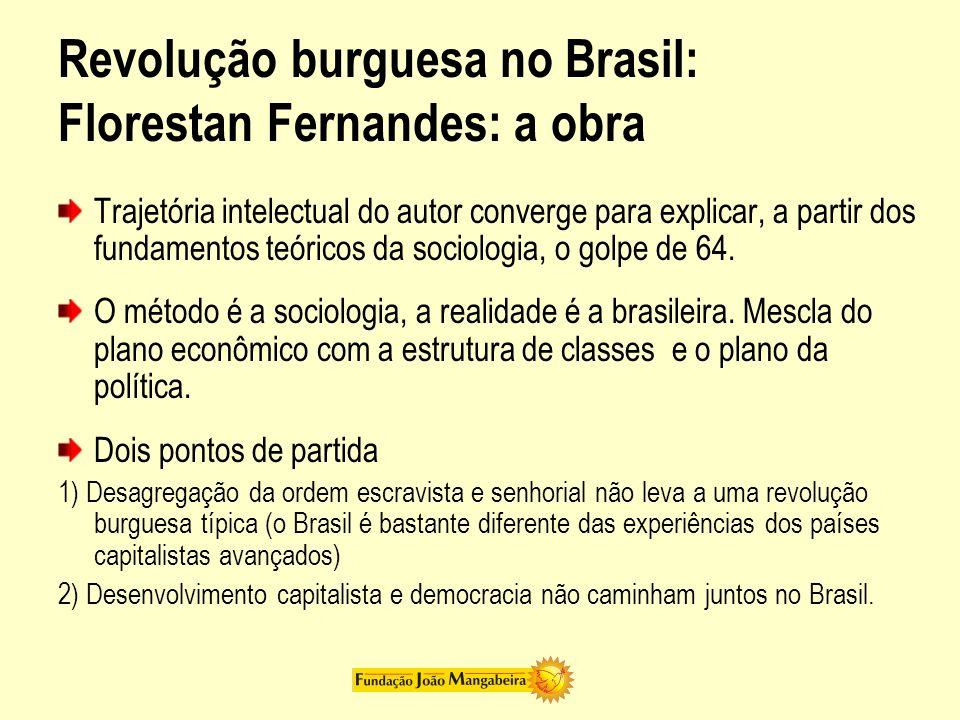 Conceitos: Polarização dinâmica A ordem burguesa possui no Brasil o potencial para se desenvolver como nos países capitalistas avançados Mas a burguesia restringe o seu papel ao espaço político, fechando-o, não revolucionando a ordem social Estruturalmente abrem-se possibilidades de avanço, mas a história no Brasil segue uma temporalidade própria, como num circuito fechado.