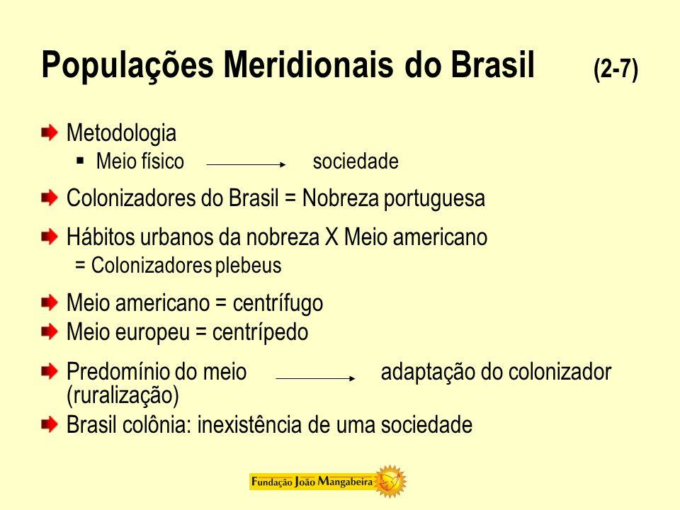 Populações Meridionais do Brasil (3-7) Vinda da família real para portuguesa (1808) Fim do isolamento dos senhores rurais Senhores rurais X Mercadores e nobres portugueses Relação com o meio Senhores rurais brasileiros - adaptados Mercadores portugueses - relativamente adaptados Nobres portugueses - inadaptados Independência: vitória dos senhores rurais brasileiros
