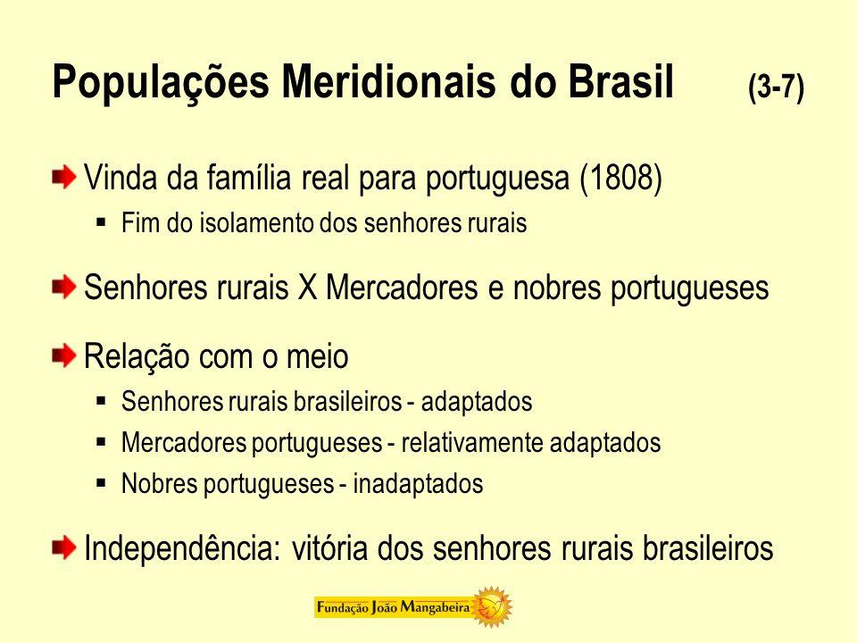 Populações Meridionais do Brasil (4-7) Senhores rurais Unidade nacional Latifúndio = auto-suficiência Solução CoroaSenhores rurais = Unificação nacional
