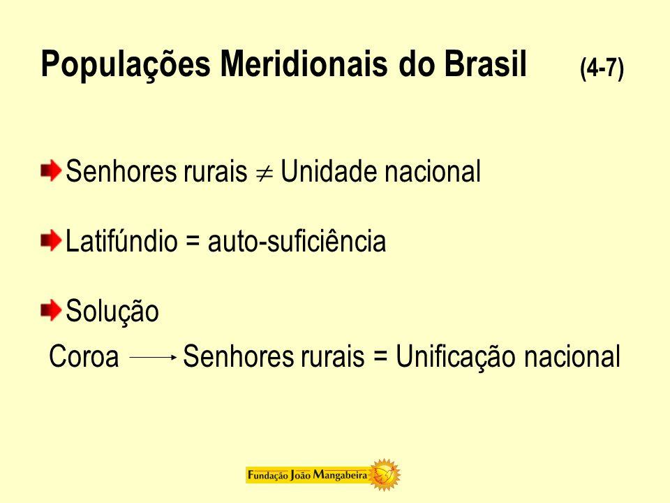 Populações Meridionais do Brasil (5-7) Posição de Oliveira Vianna diante do latifúndio: 1) Colônia = instrumento de adaptação ao meio americano 2) Independência = impede a unificação nacional