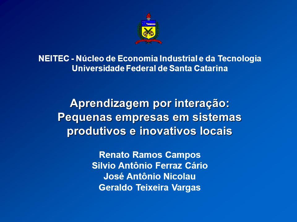Objetivo Análise dos processos de aprendizagem interativa em pequenas empresas inseridas em sistemas locais de inovação com formas de governance difusas