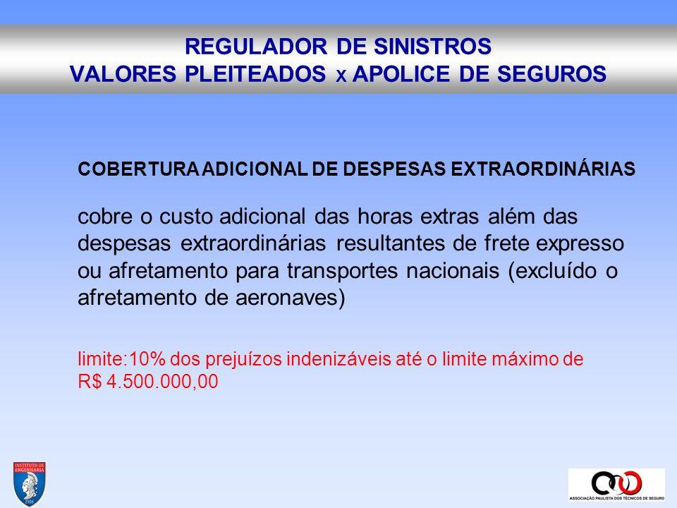 REGULADOR DE SINISTROS VALORES PLEITEADOS X APOLICE DE SEGUROS COBERTURA ADICIONAL DE DESPESAS DE DESENTULHO garante até o limite especificado, as despesas de desentulho, abrangendo a remoção do entulho, o carregamento, o transporte e o descarregamento em local adequado.