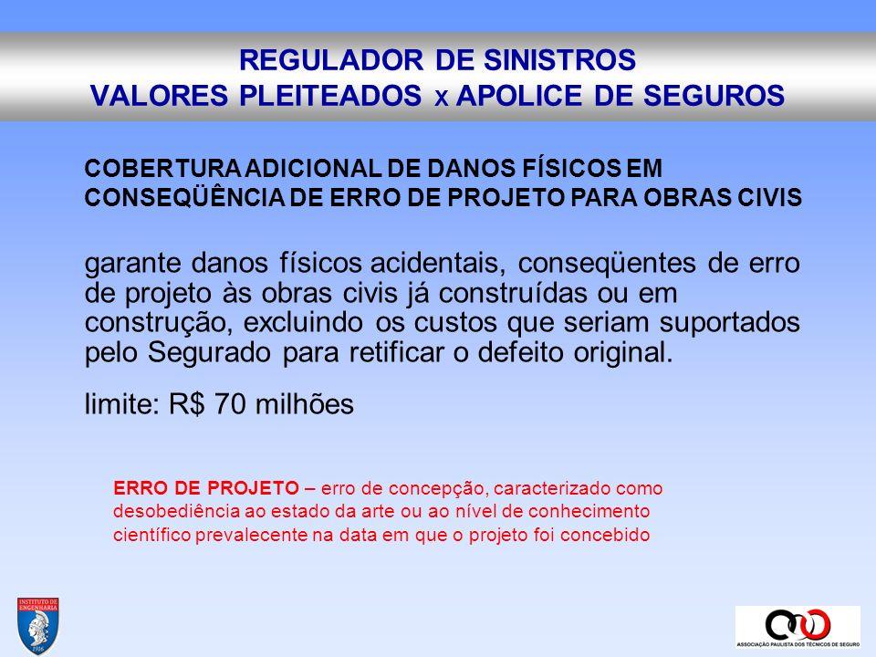 REGULADOR DE SINISTROS VALORES PLEITEADOS X APOLICE DE SEGUROS CLAUSULA PARTICULAR DE SALVAMENTO E CONTENÇÃO DE SINISTROS Não cobre despesas com a prevenção ordinária de sinistros.