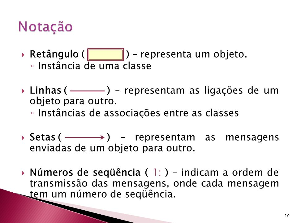 Como todas as mensagens têm de passar por ligações, para além das ligações que representam instâncias de associações, pode ser necessário indicar ligações mais dinâmicas Assim, em qualquer extremo de uma ligação, pode-se indicar o tipo de ligação (do ponto de vista do objeto no outro extremo) através de um estereótipo: «association» - instância de associação (tipo por omissão) «parameter» - parâmetro de operação do objeto que faz a Chamada «local» - variável local de operação do objeto que faz a chamada «global» - variável global (usada pelo objeto no outro extremo da ligação) «self» - auto-ligação (para enviar mensagens para o próprio) 11