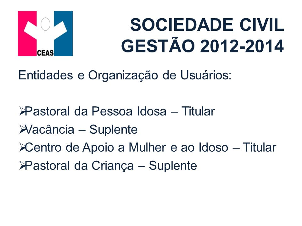 Organizações de Assistência Social: Associação dos Pais e Amigos de Pessoas Especiais – Titular Vacância – Suplente Associação dos Deficientes Físicos de Alagoas – Titular Vacância - Suplente