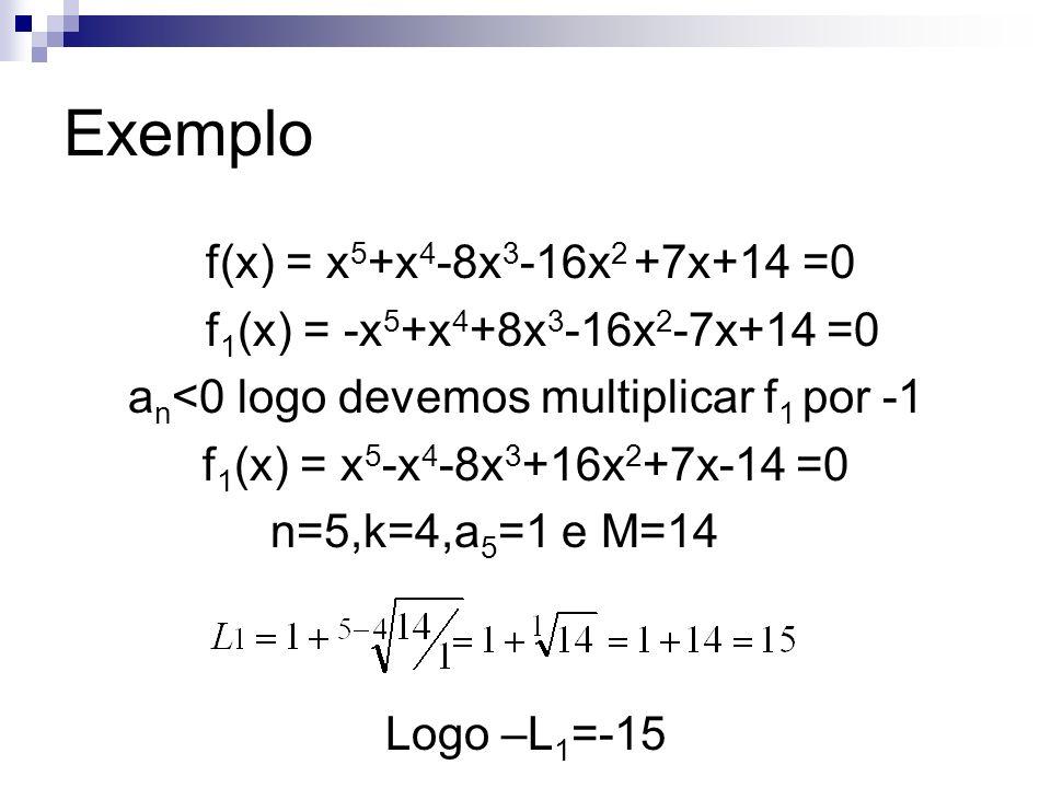 Enumeração das raízes Regra dos sinais de Descartes – O número de raízes positivas de equações polinomiais é igual ao número de variação de sinais apresentado pelo conjunto de coeficientes ou menor em um número par