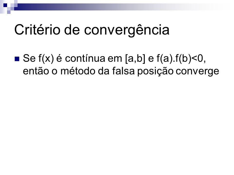 Calculando x k No método da bisseção x é dado pela média aritmética do intervalo x= (a+b)/2 No método da FP o x é dado pela média aritmética ponderada x=(a|f(b)|+b|f(a)|)/(|f(b)|+|f(a)|) x=(af(b)-bf(a))/(f(b)-f(a))