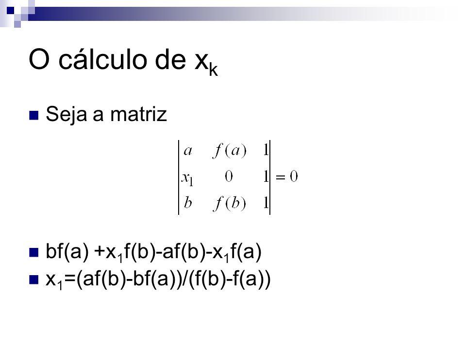 Generalizando x k =(af(b)-bf(a))/(f(b)-f(a)) Desde que a cada passo seja atualizado a ou b O critério utilizado por este método para a divisão do intervalo [a,b] é o da média ponderada