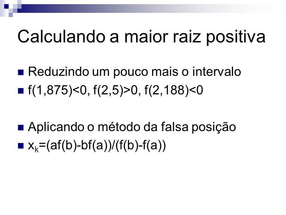 kabf(a)f(b)xkxk f(x k ) 12,1882,5-1,5921,5632,345-0,467 22,3452,5-0,4671,5632,381-0,085 32,3812,5-0,0851,5632,387-0,016 42,3872,5-0,0161,5632,388-0,005 Para a precisão estabelecida, 2,388 é a maior raiz positiva da equação