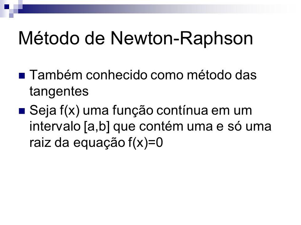 Dada uma estimativa x k-1, k=1,2,..., para uma raiz de f(x)=0 a estimativa x k é a abscissa do ponto onde a reta tangente f(x) em [x k-1,f(x k-1 )] intercepta o eixo das abscissas Método de Newton-Raphson