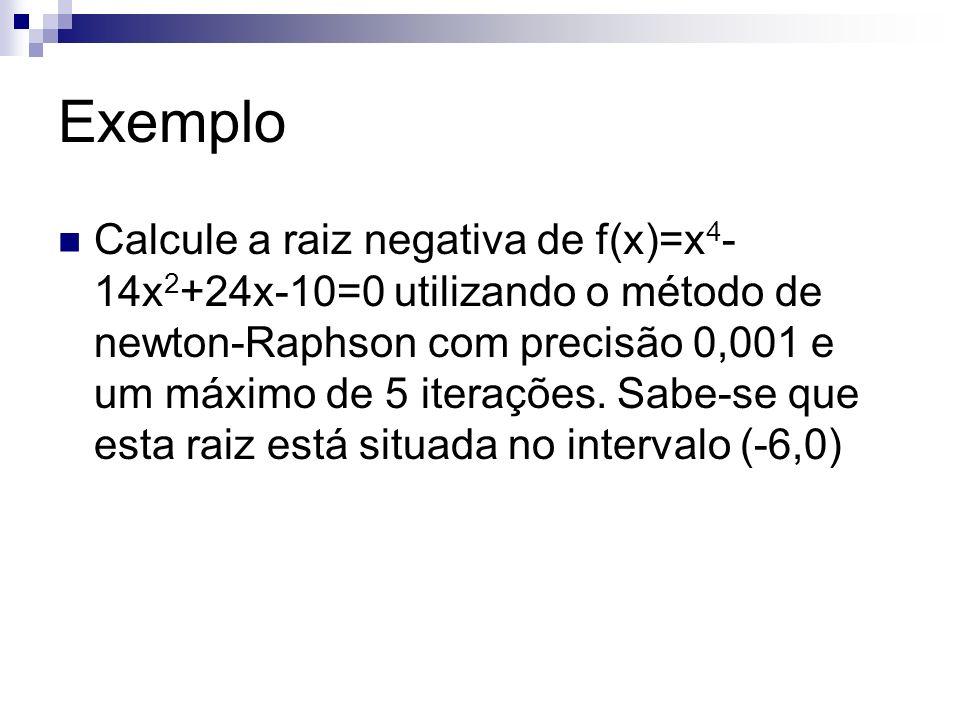 Exemplo Aplicando o método da Bisseção para diminuir o intervalo -60 +- f(-6)=638 f(0)=-10