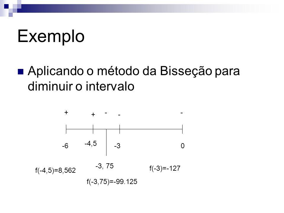 Exemplo Aplicando o método da Bisseção para diminuir o intervalo -60 +- -3 - -4,5 + -3, 75 -