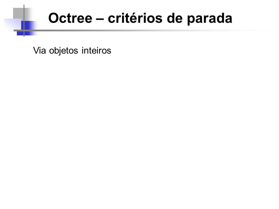 Octree – critérios de parada Via clip de objetos / polígonos