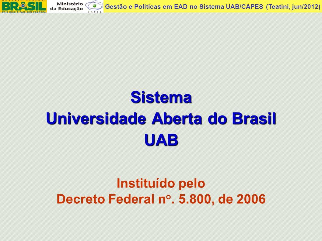 Gestão e Políticas em EAD no Sistema UAB/CAPES (Teatini, jun/2012) Sistema UAB - Objetivos Ampliar o acesso à educação superior pública, em especial nas regiões remotas do Brasil.