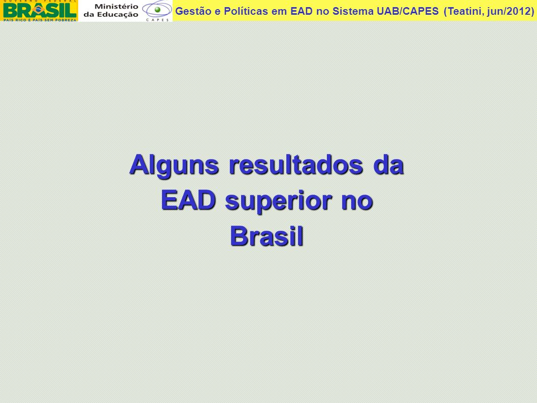 Gestão e Políticas em EAD no Sistema UAB/CAPES (Teatini, jun/2012) 10/setembro/2007 Exame Nacional Desempenho Enade/Inep 2006