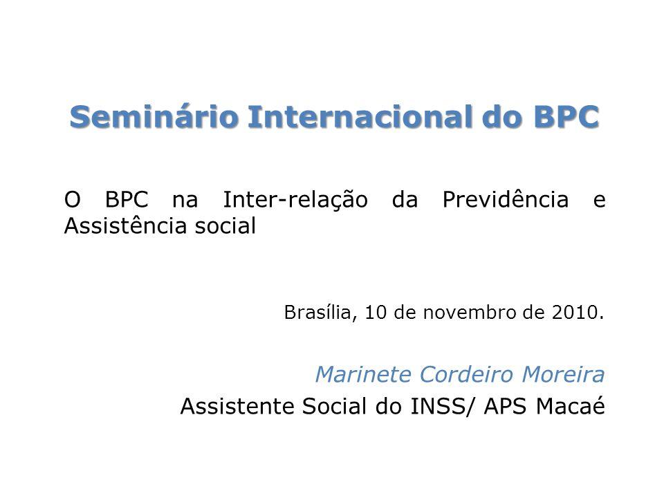 Roteiro 1- O trabalho como eixo estruturante da seguridade social 2- Breve contextualização histórica do BPC Novo Modelo de Avaliação da Pessoa com deficiência para o Benefício de Prestação Continuada da Assistência Social 3-Novo Modelo de Avaliação da Pessoa com deficiência para o Benefício de Prestação Continuada da Assistência Social 4- Desafios O BPC na Inter-relação da Previdência e Assistência social