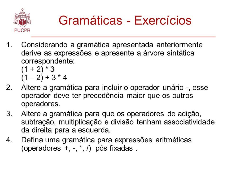Gramáticas Dados 2 conjuntos independentes de símbolos: V t – Símbolos terminais V n – Símbolos não terminais.