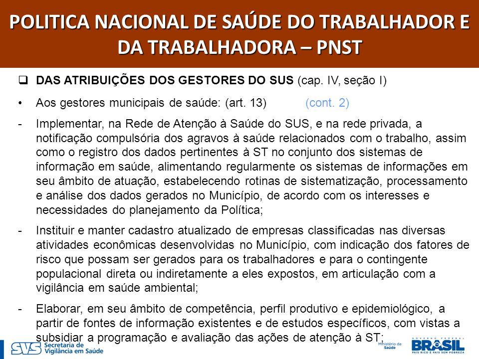 POLITICA NACIONAL DE SAÚDE DO TRABALHADOR E DA TRABALHADORA – PNST DAS ATRIBUIÇÕES DOS GESTORES DO SUS (cap.