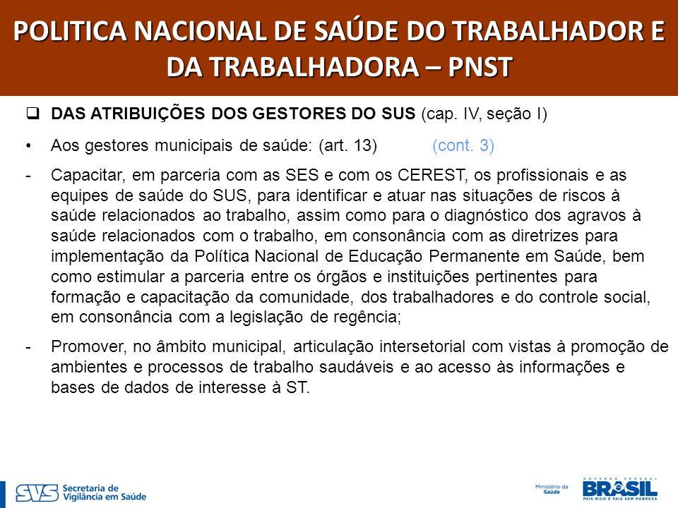 POLITICA NACIONAL DE SAÚDE DO TRABALHADOR E DA TRABALHADORA – PNST DAS ATRIBUIÇÕES DOS CEREST E DAS EQUIPES TÉCNICAS (cap.
