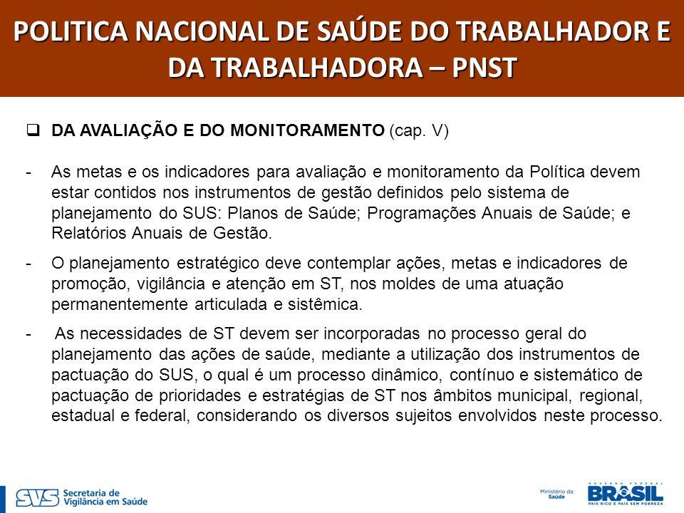 POLITICA NACIONAL DE SAÚDE DO TRABALHADOR E DA TRABALHADORA – PNST DO FINANCIAMENTO (cap.