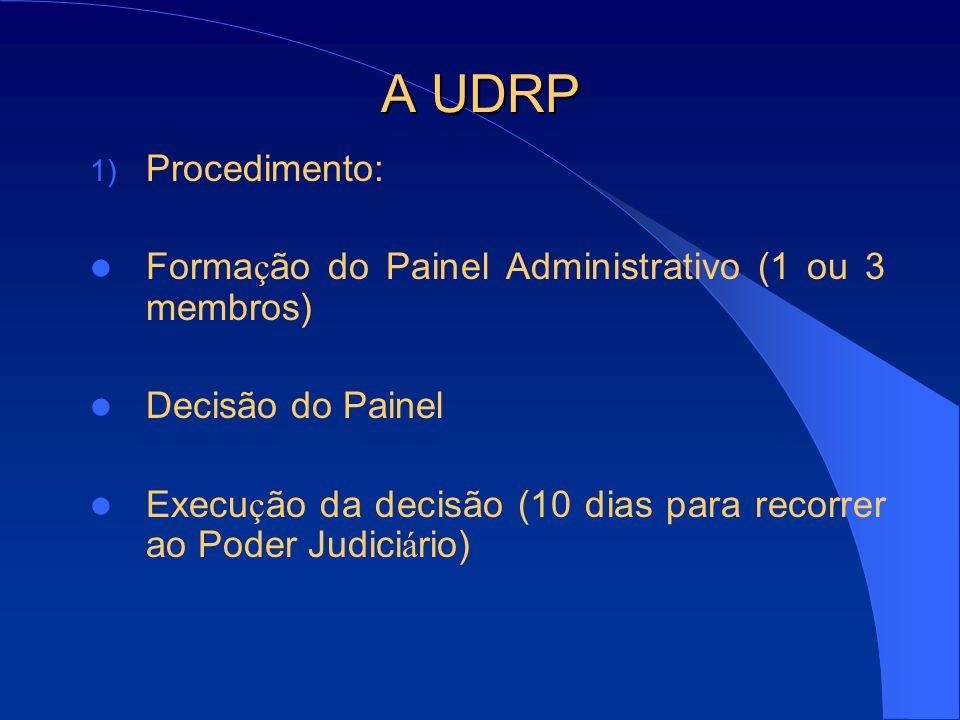 A UDRP 1) Procedimento: O procedimento dura entre 45 (quarenta e cinco) e 60 (sessenta) dias, contados da data de recebimento do Requerimento Custos: a partir de US 1,500.00