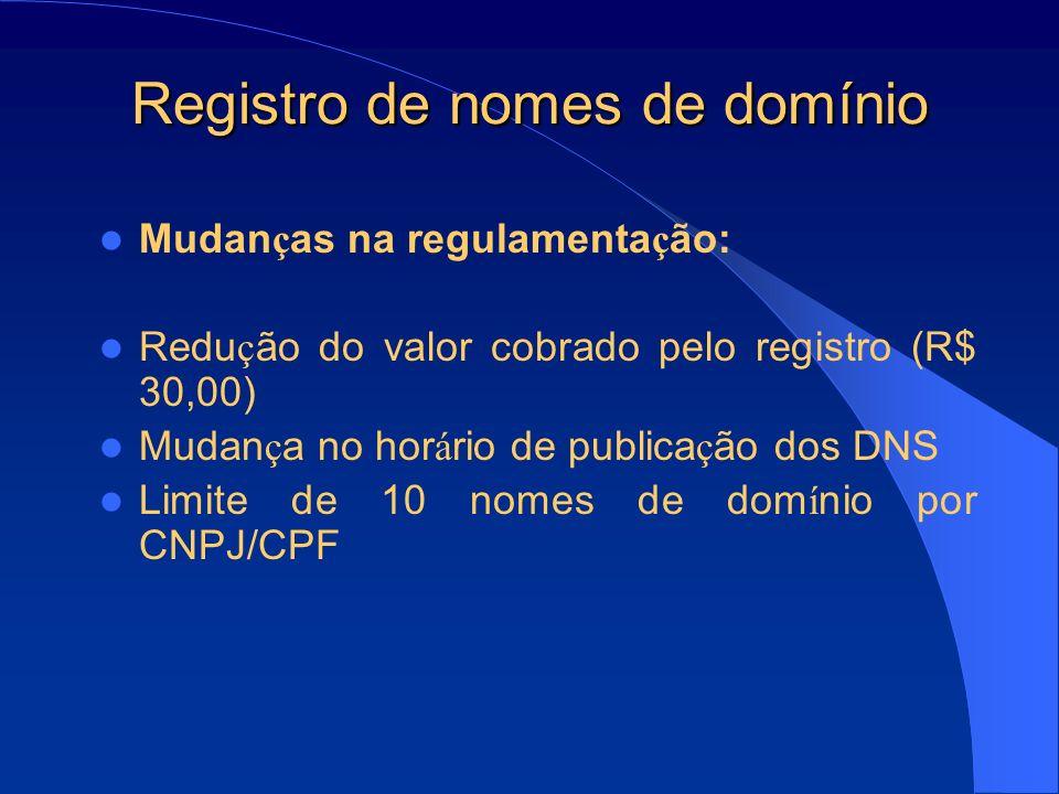Registro de nomes de domínio Problemas na regulamenta ç ão: Registro de nomes de dom í nio para estrangeiros Problema federativo (Estado de São Paulo) Conflito entre marcas e nomes de dom í nio