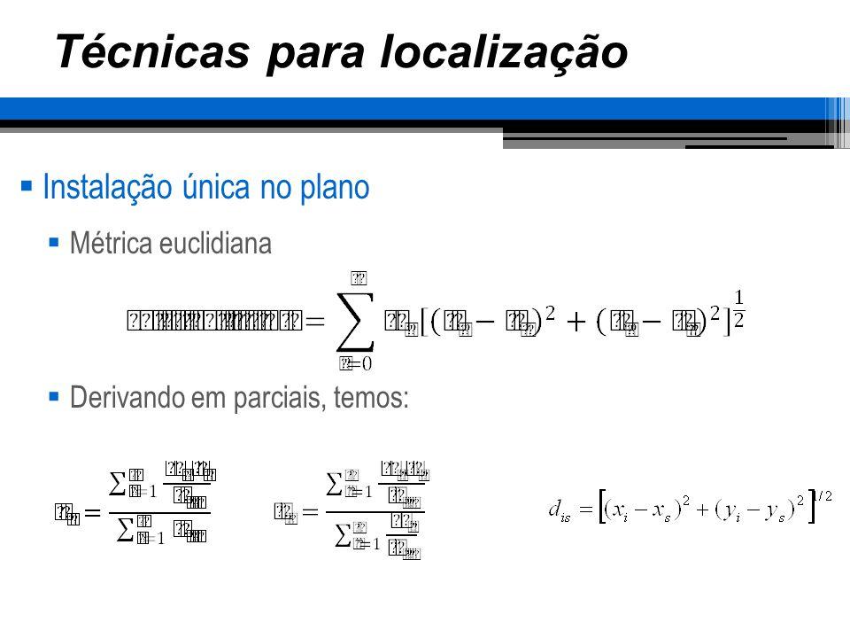 Técnicas para localização Instalação única no plano Este método é interativo, sua solução inicial parte do cálculo do centro de gravidade Utilizando o mesmo exemplo anterior, temos: