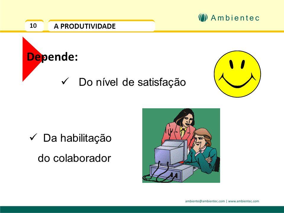10 A PRODUTIVIDADE Depende: Do nível de satisfação Da habilitação do colaborador
