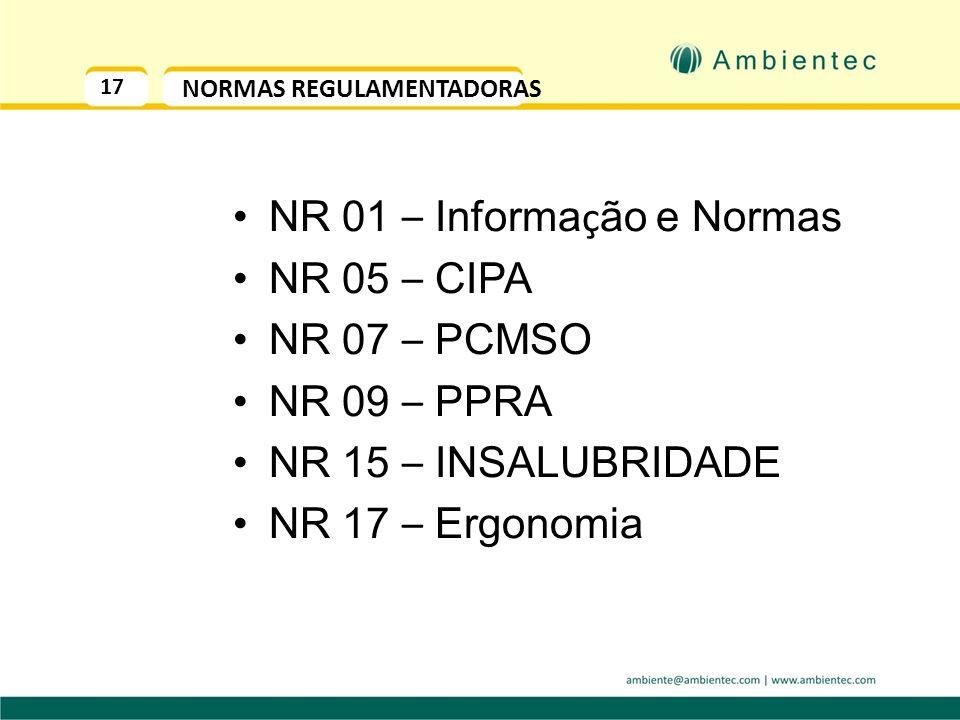 17 NORMAS REGULAMENTADORAS NR 01 – Informa ç ão e Normas NR 05 – CIPA NR 07 – PCMSO NR 09 – PPRA NR 15 – INSALUBRIDADE NR 17 – Ergonomia