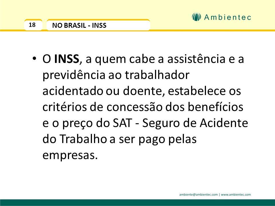 18 NO BRASIL - INSS O INSS, a quem cabe a assistência e a previdência ao trabalhador acidentado ou doente, estabelece os critérios de concessão dos benefícios e o preço do SAT - Seguro de Acidente do Trabalho a ser pago pelas empresas.