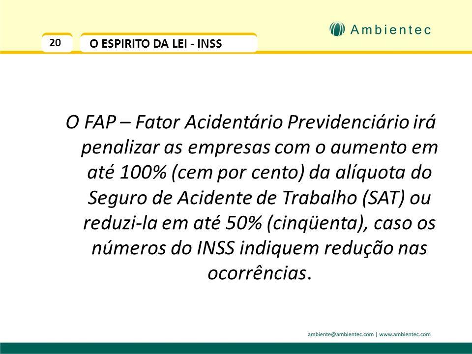 20 O ESPIRITO DA LEI - INSS O FAP – Fator Acidentário Previdenciário irá penalizar as empresas com o aumento em até 100% (cem por cento) da alíquota do Seguro de Acidente de Trabalho (SAT) ou reduzi-la em até 50% (cinqüenta), caso os números do INSS indiquem redução nas ocorrências.