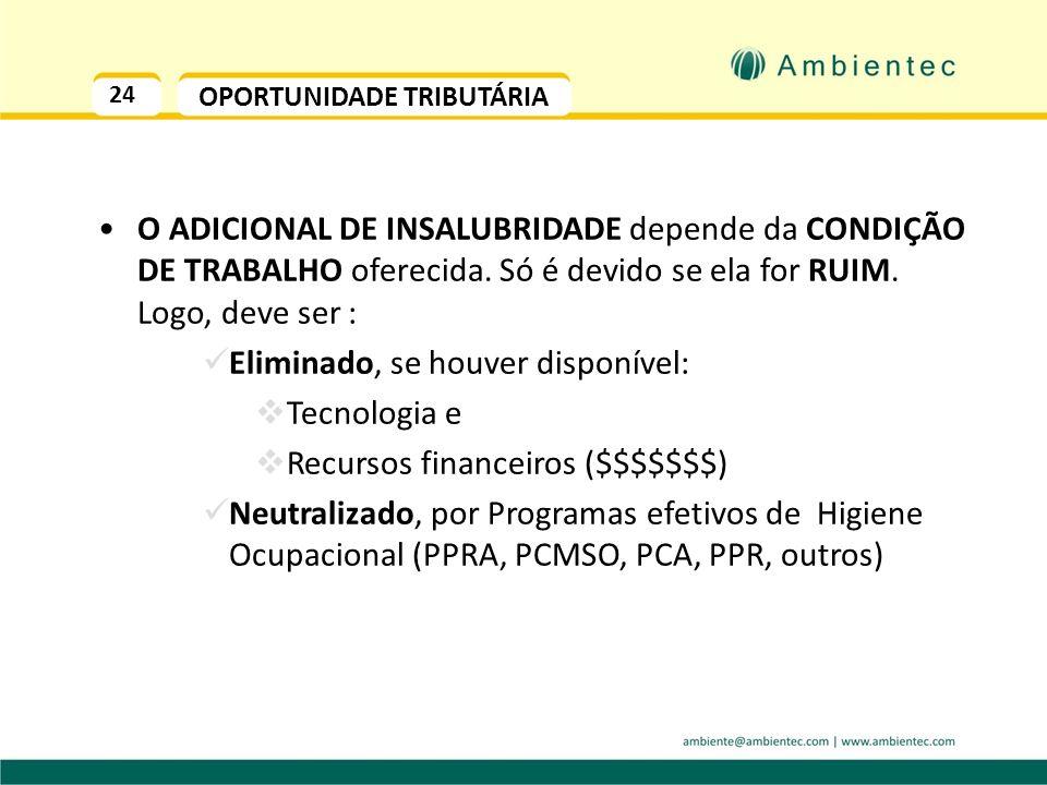 24 OPORTUNIDADE TRIBUTÁRIA O ADICIONAL DE INSALUBRIDADE depende da CONDIÇÃO DE TRABALHO oferecida.