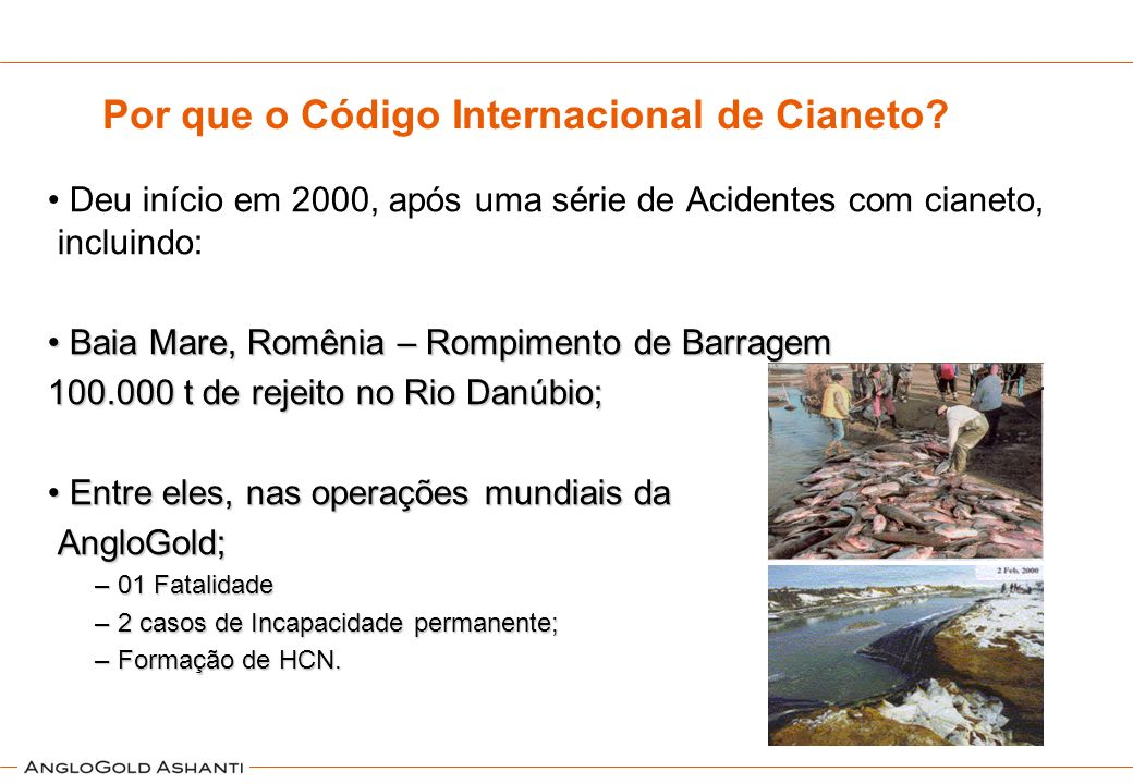 Outros incidentes Ambientais com Cianeto GanaOutubro de 2001 Rompimento da bacia de contenção da South African Company Goldfields, contaminando rio Asuman RomêniaJaneiro de 2000 Mais de 100m 3 de mistura com cianeto e outros metais, matando 15 toneladas de peixe GanaJunho de 1997 Vazamento na mina Teberebie, morte de peixes e plantas as margens do rio GuianaAgosto de 1995 Rompimento da bacia Omai Gold Mines, 2,9 milhões de toneladas de efluentes e resíduos