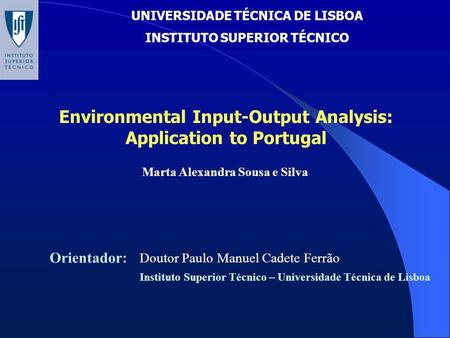 Environmental Input-Output Analysis: Application to Portugal