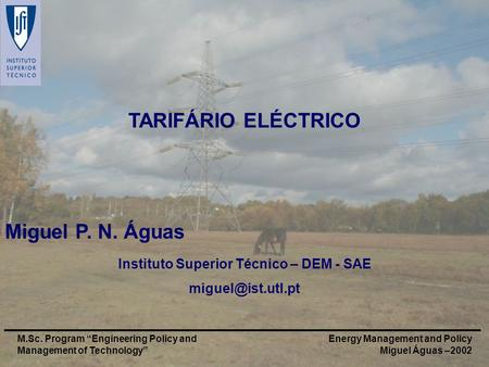 Energy Management and Policy Miguel Águas –2002 M.Sc. Program Engineering Policy and Management of Technology TARIFÁRIO ELÉCTRICO Miguel P. N. Águas Instituto.