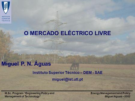 Energy Management and Policy Miguel Águas –2002 M.Sc. Program Engineering Policy and Management of Technology O MERCADO ELÉCTRICO LIVRE Miguel P. N. Águas.