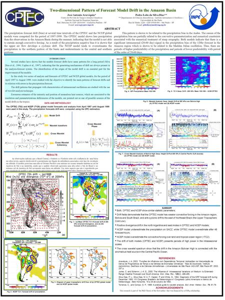. Two-dimensional Pattern of Forecast Model Drift in the Amazon Basin The precipitation forecast drift (bias) at several time intervals of the CPTEC and.