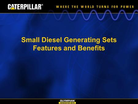 Small Diesel Generating Sets Features and Benefits.