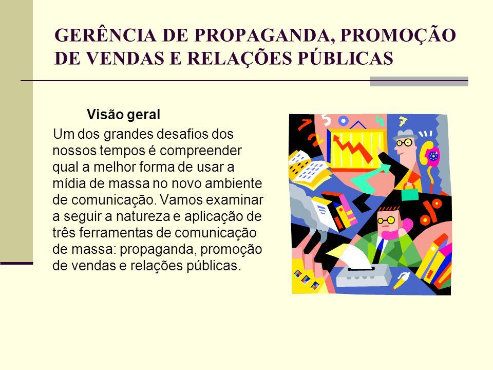 A propaganda Uso de meio pago por um vendedor para transmitir informação persuasiva sobre seus produtos, serviços ou organização é uma importante ferramenta promocional.