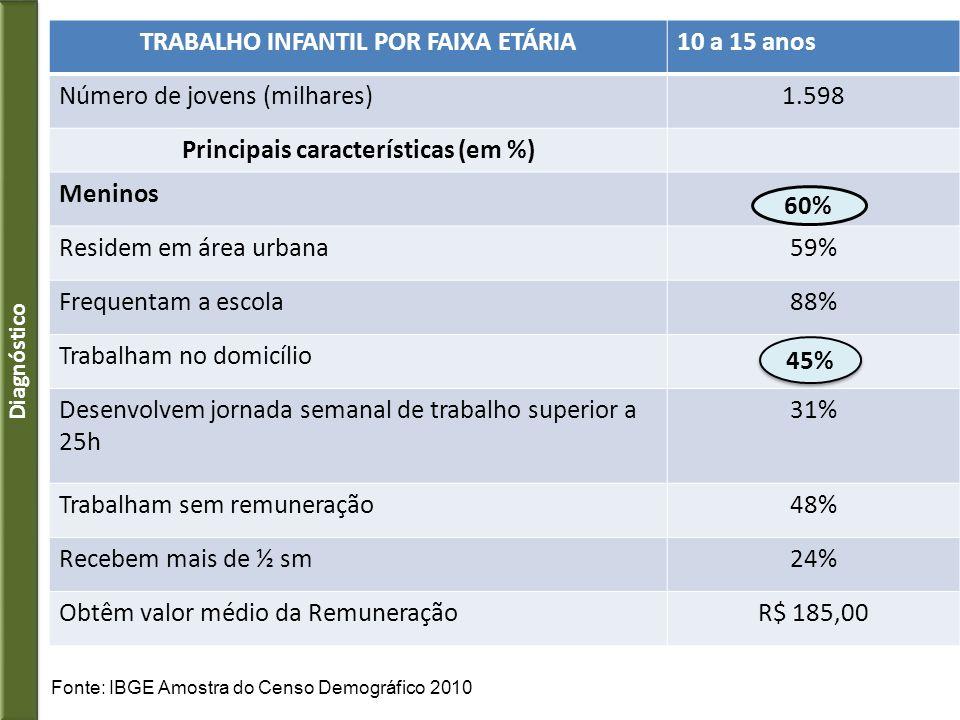 Principais Ocupações com presença de Trabalho Infantil (73%) com exigência de ações diferenciadas de enfrentamento – IBGE/Censo 2010 1.Agricultura - 41% 2.Comércio, reparação (veículos, equipamentos domésticos etc) - 17% 3.Industria de Transformação (alimentação, vestuário, calçados etc) – 7% 4.Serviços domésticos – 8% 5.Lixões – 0,44% 6.Tráfico de drogas 9 Diagnóstico: principais atividades
