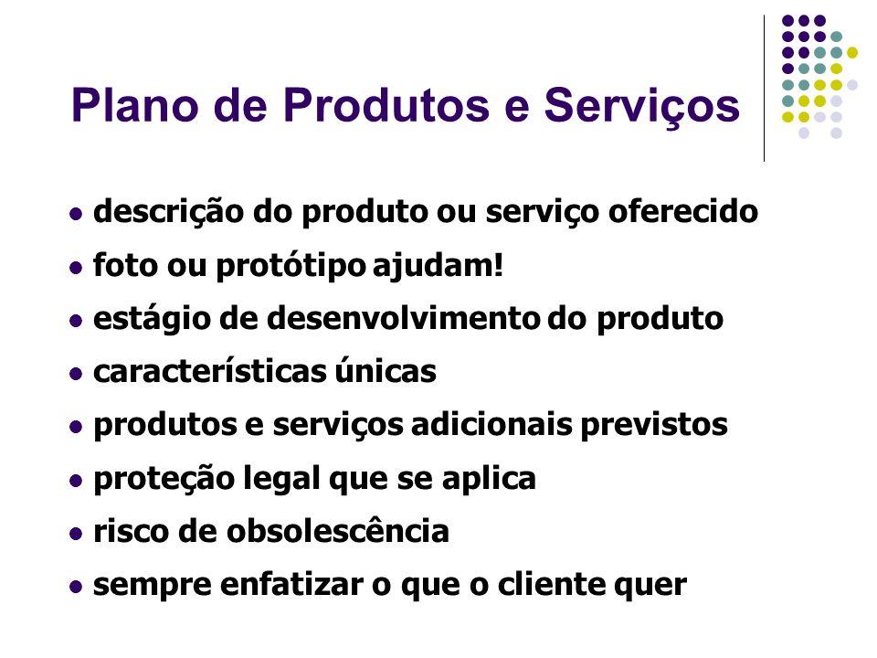 Plano de Marketing descrição dos clientes análise da concorrência análise do mercado (previsão de vendas) estratégias de Marketing (4 ps)