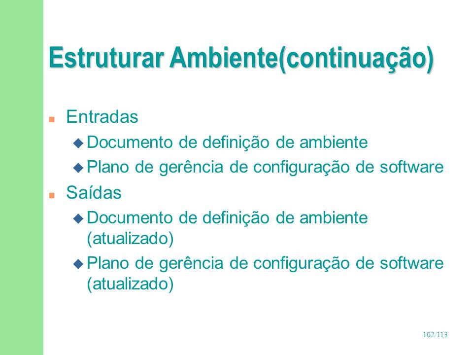 103/113 Passos para Estruturar Ambiente n Definir estrutura de diretórios, repositórios e áreas de backup n Definir política para utilização do ambiente